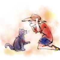 野良猫と遊ぶ子供のイラスト(イメージの見本あり)の納品作品