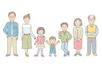 サザエさんみたいな家族のイラストをお願いします