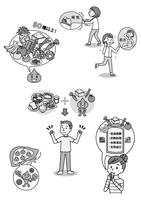 小冊子用モノクロカット6ページ分