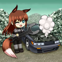 Manga Style graphic with cars, backgrounds, and characters