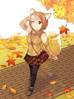 秋服の女性イラスト
