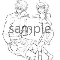 「細身美少女対男子プロボクサー」のイラスト