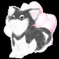 「一枚の桜の花びらを背景にした犬」のアイコン画を描いてください。