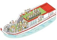 屋形船パンフレットに使用するイラスト