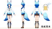 オリジナルキャラクターイラストの三面図制作