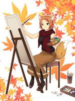 秋服の女性イラスト、絵画作成中