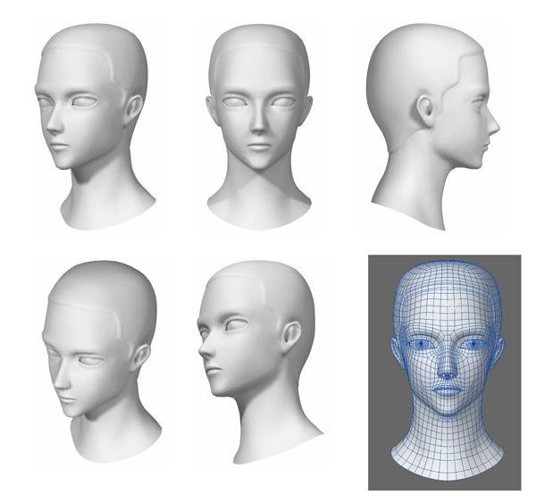 3D キャラクター頭部のみモデリング2体。テクスチャ・ボーン・髪の毛 ...