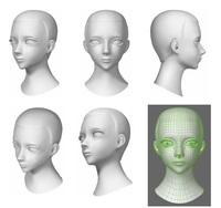 Deliverable of 3D キャラクター頭部のみモデリング2体。テクスチャ・ボーン・髪の毛なし