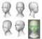 3D キャラクター頭部のみモデリング2体。テクスチャ・ボーン・髪の毛なし