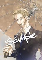 雨風が強い中で颯爽と傘をさす男性の作画をお願いしたいです。