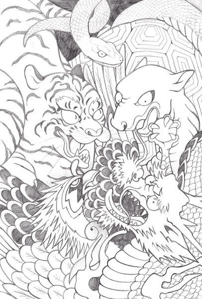 和彫りの墨を意識した四聖獣のイラスト 制作実績 Skillots スキロッツ
