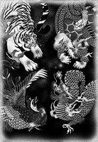 和彫りの墨を意識した四聖獣のイラスト