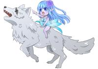 デフォルメ 隻眼銀狼とその頭に乗る妖精