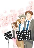合唱団団員募集チラシのメインイラスト及びミニ漫画